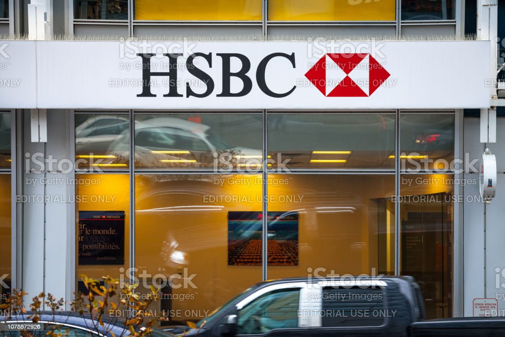 Logo Of The Hsbc Bank On Their Main Branch In Montreal With
