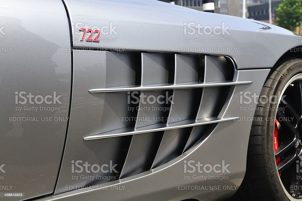Logo on a McLaren Mercedes SLR 722 royalty-free stock photo