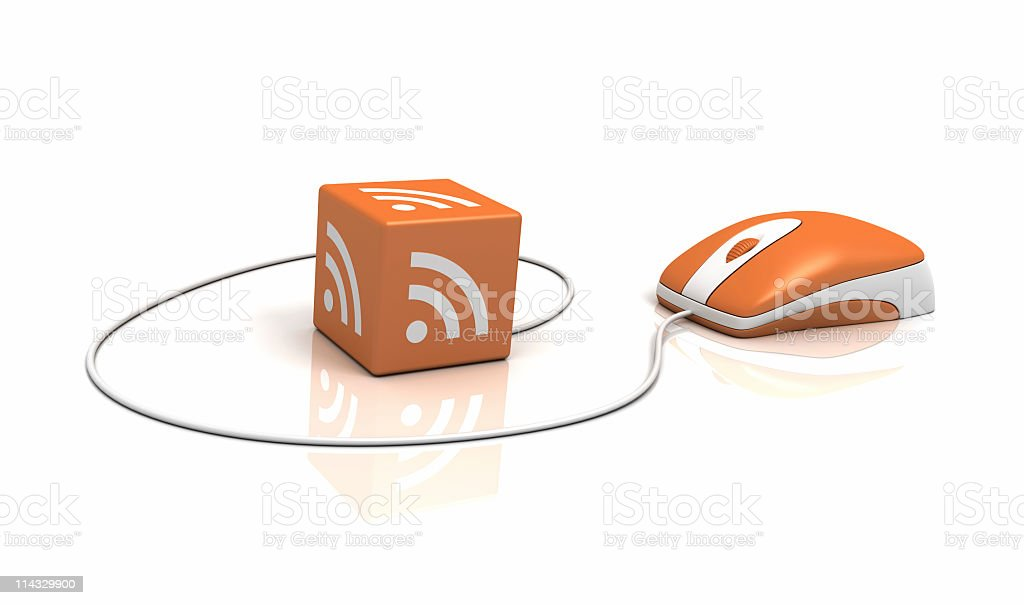 RSS Logo on Cube with Computer Mouse stock photo