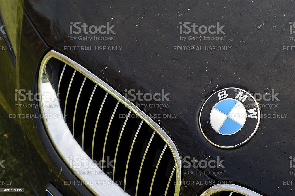 BMW logo on E60 stock photo
