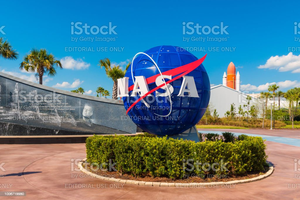 NASA Logo on Globe at Kennedy Space Center Florida stock photo
