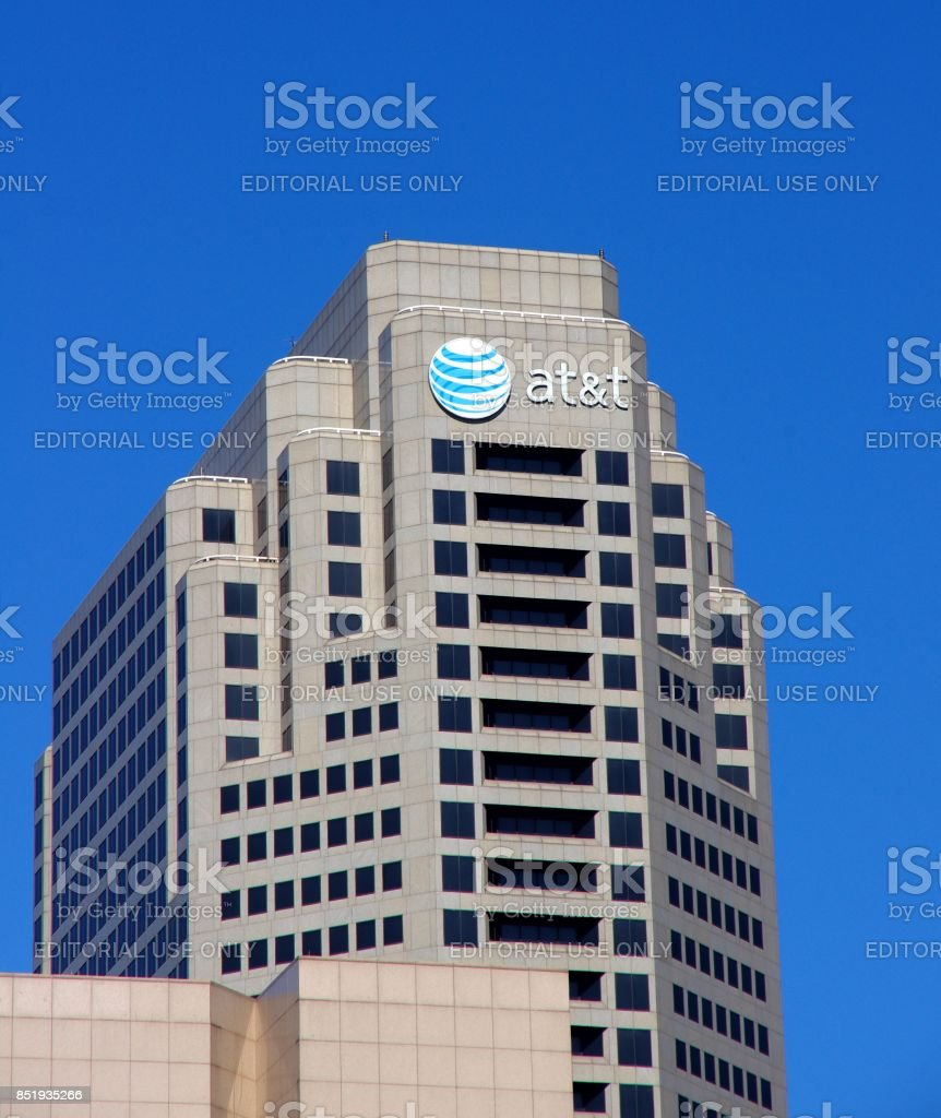 AT&T logo on office building stock photo