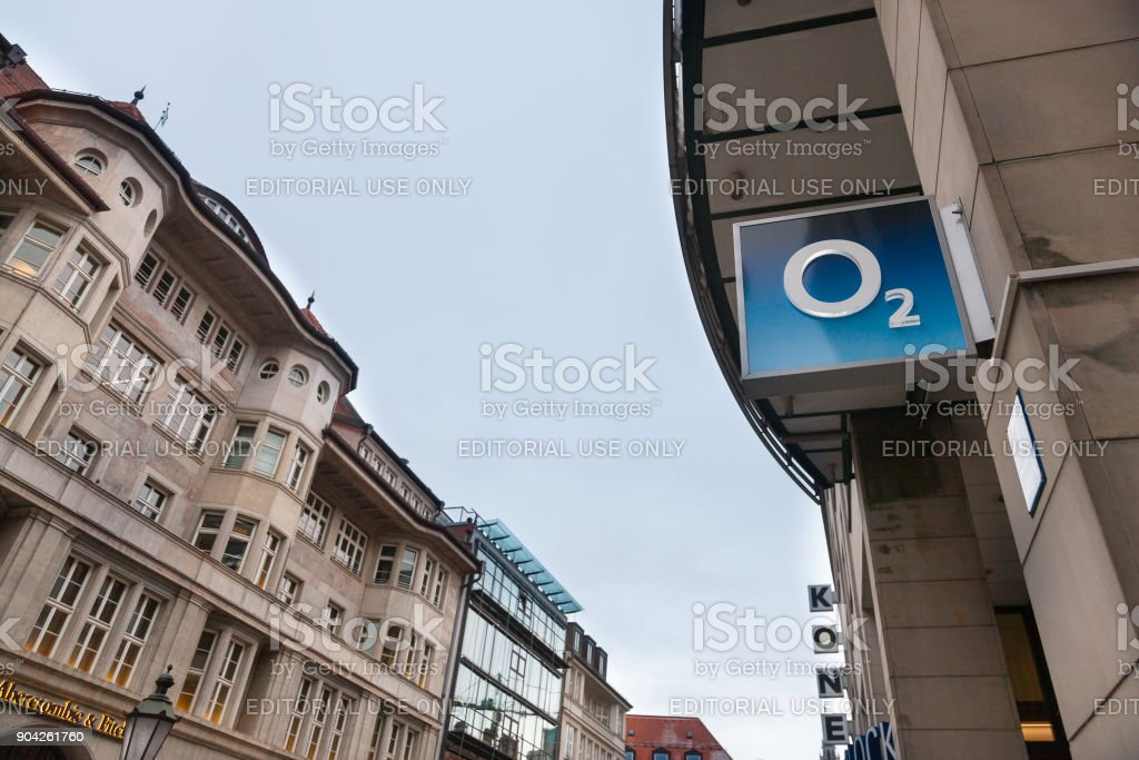 O2 logo on their Munich main shop. O2 is one of the main phone carriers and internet service providers in Germany stock photo