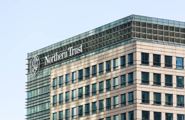 Logo or sign for Northern Trust in Canary Wharf stock photo