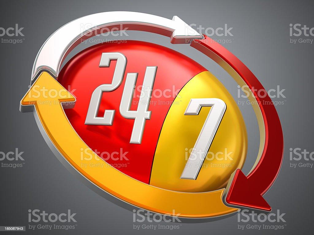 24/7 logo stock photo