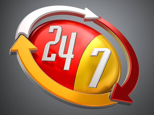 Logotipo 24/7 - foto de acervo