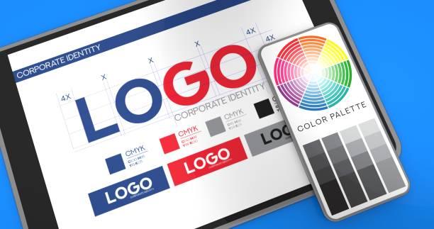concept de présentation de logo - graphisme photos et images de collection