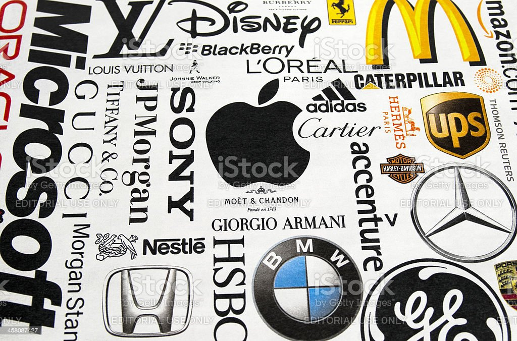 Logos printed in a magazine stock photo