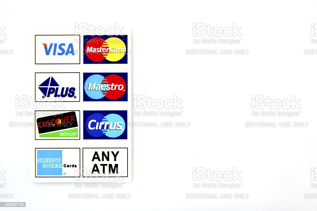 Logotype at the ATM stock photo