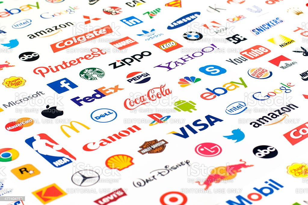 Logotype collection of well-known world brand's. Zaporozhye, Ukraine - May 26, 2015: Photo of a logotype collection of well-known world brand's printed on paper. Include Coca-Cola, YouTube, Pepsi, Canon, McDonald's, Google, Facebook, Twitter, Apple and more others logo. 2015 Stock Photo