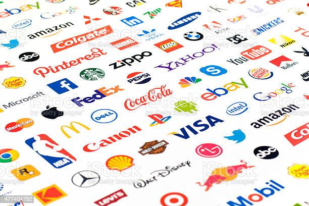 Logotype Collection Of Wellknown World Brands Stock Photo - Download Image Now