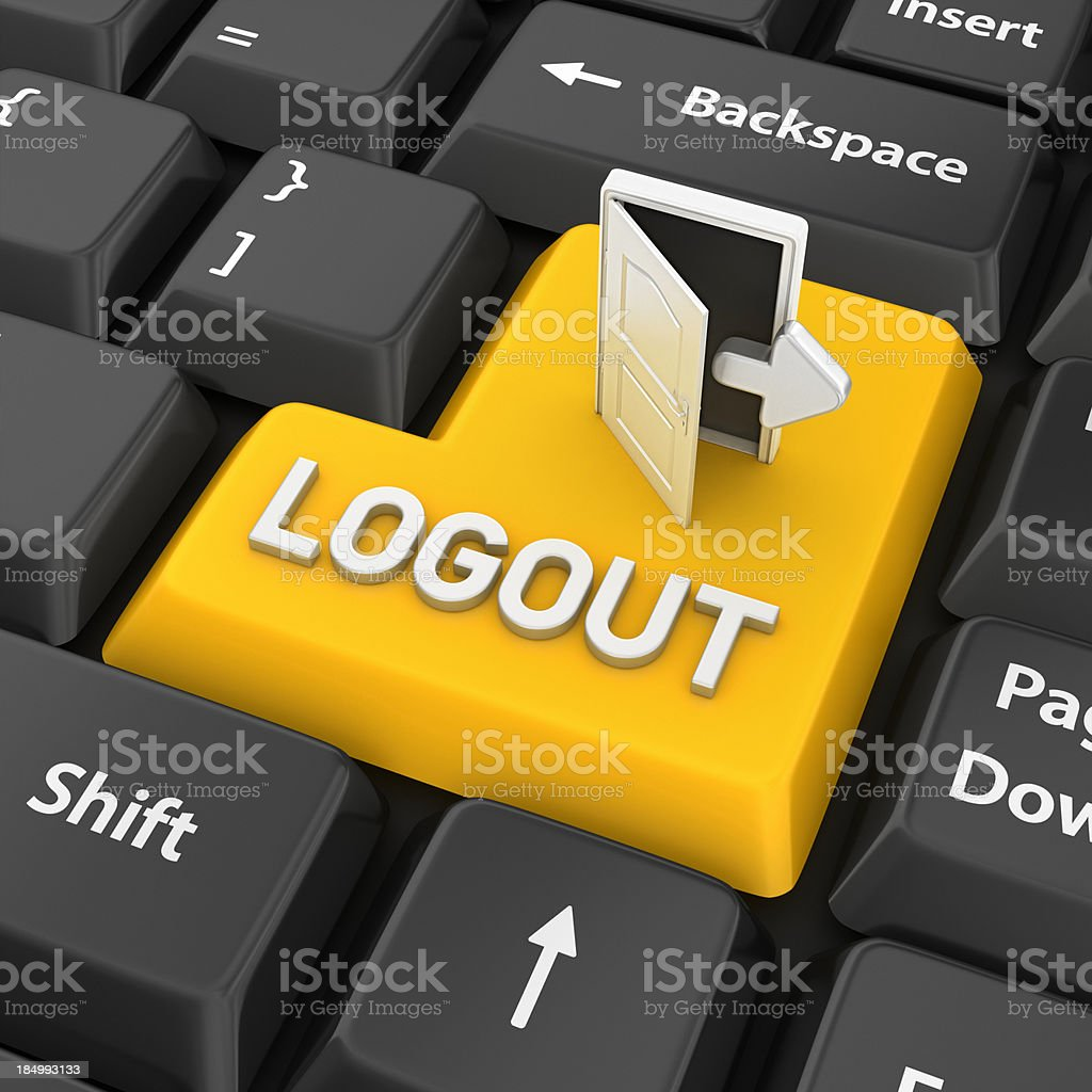 logout enter key stock photo