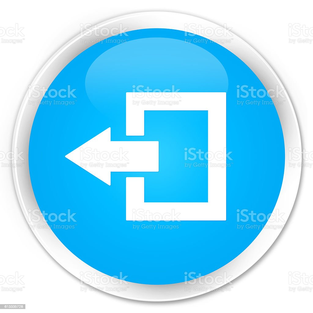 Logout icon cyan blue glossy round button stock photo