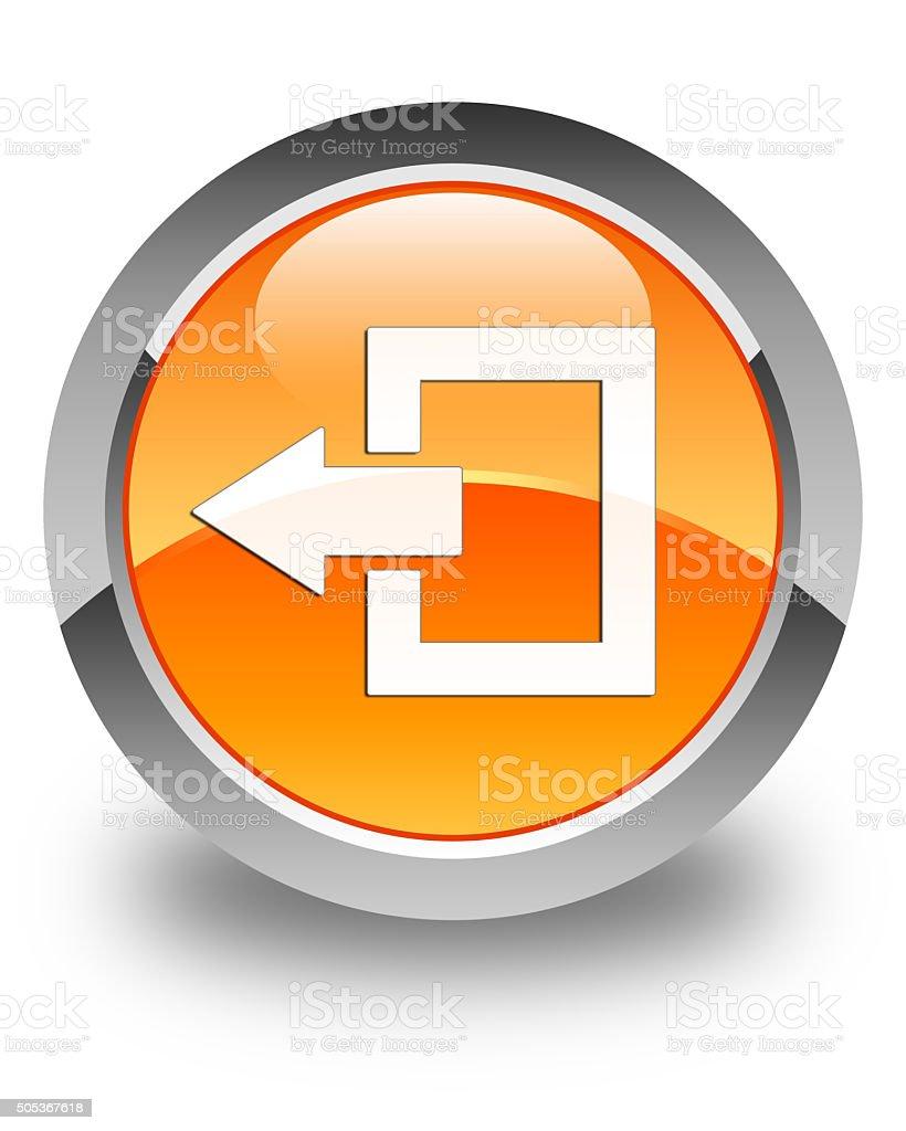 Logout icon glossy orange round button stock photo