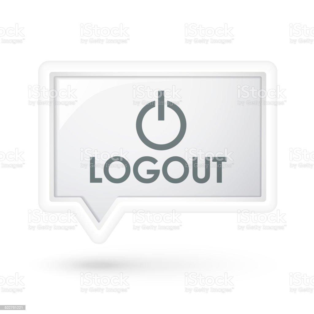 logout icon on a speech bubble stock photo