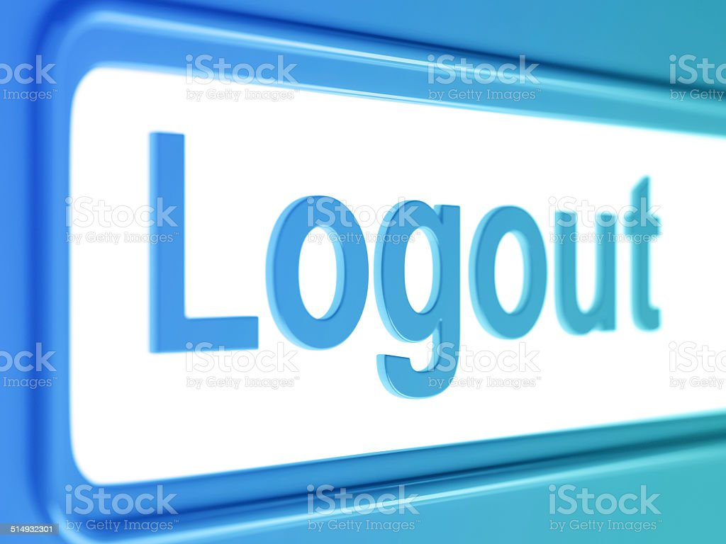 Logout internet blue icon. stock photo