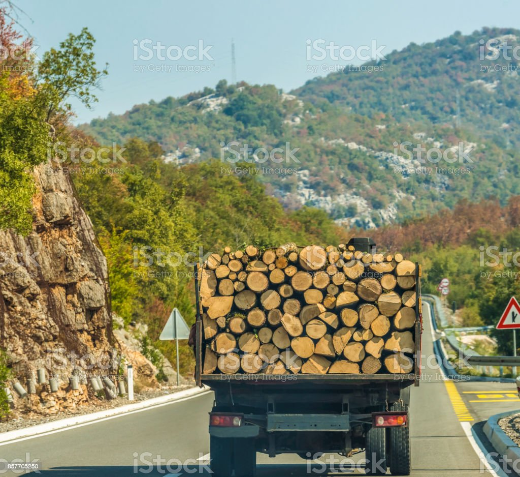 Logs are carrying a truck on the road to the mountainous Montenegro. stock photo