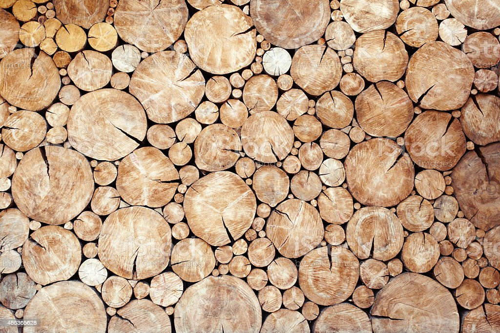 logs birch wall stock photo