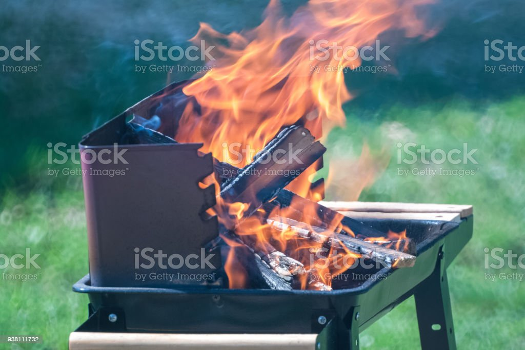logs burning in the grill on background of green grass stock photo