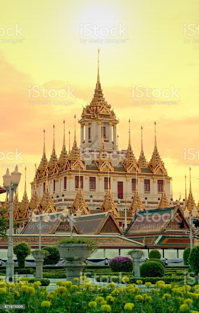 Loha Prasat , The metallic castle covered with gold leaf at of Wat...