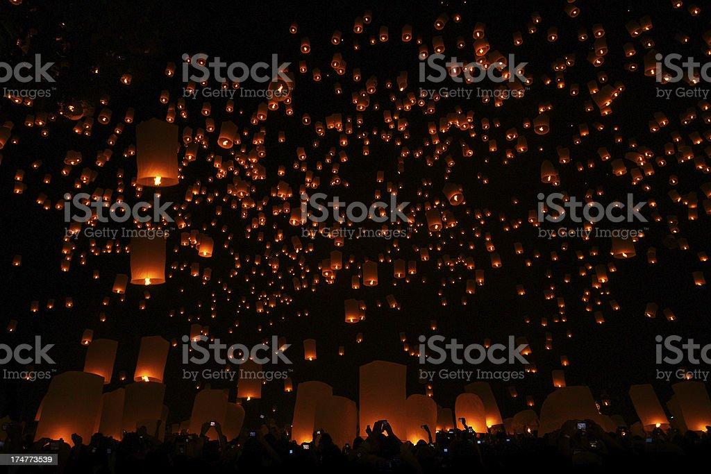 Loi Krathong and Yi Peng Festival stock photo