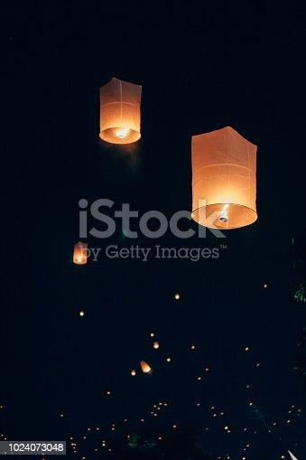 Loi Krathong Floating Lanterns in Chiangmai,Thailand