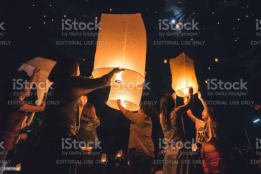 Loi Krathong Floating Lanterns stock photo