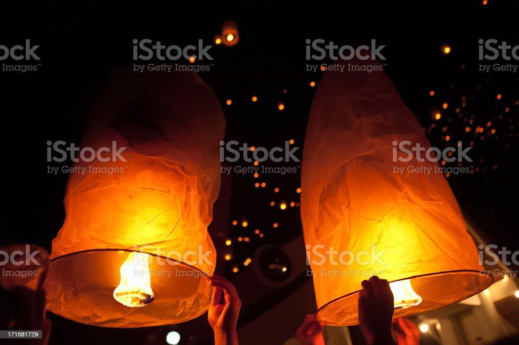 Loi Krathong Lanterns royalty-free stock photo