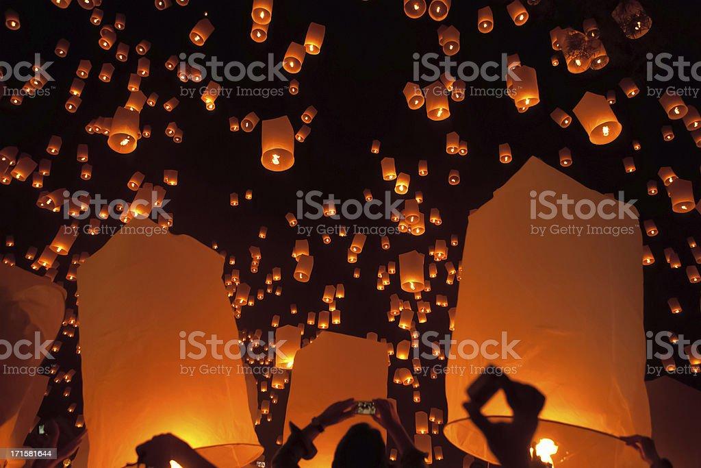 Loi Krathong Mass Lantern Launch stock photo