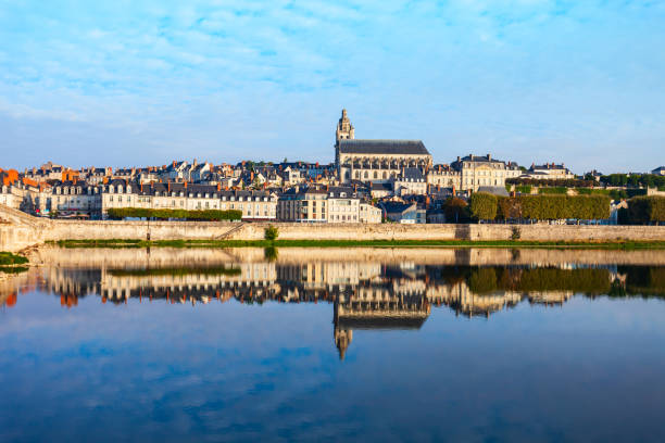 Loire river valley and Blois city stock photo