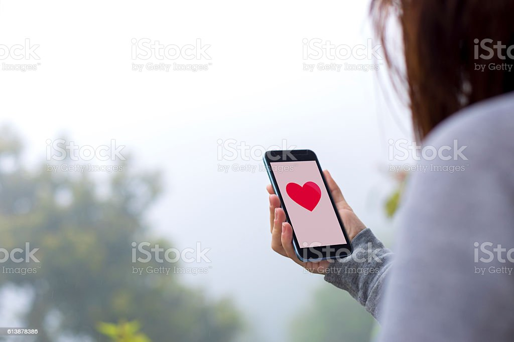 Loking for love online stock photo