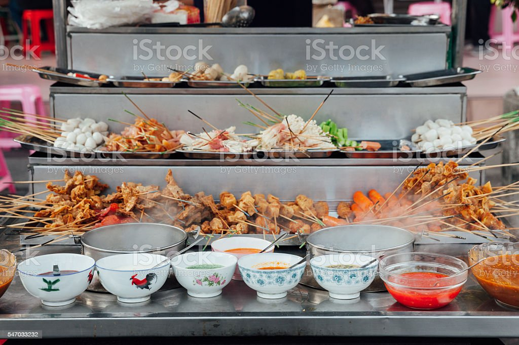 Lok-Lok steamboat stall, George Town, Penang stock photo