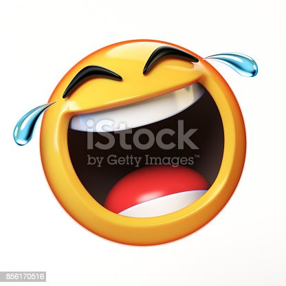 istock LoL Emoji isolated on white background, laughing face emoticon 3d rendering 856170516