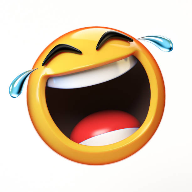 LoL Emoji isolated on white background, laughing face emoticon 3d rendering stock photo