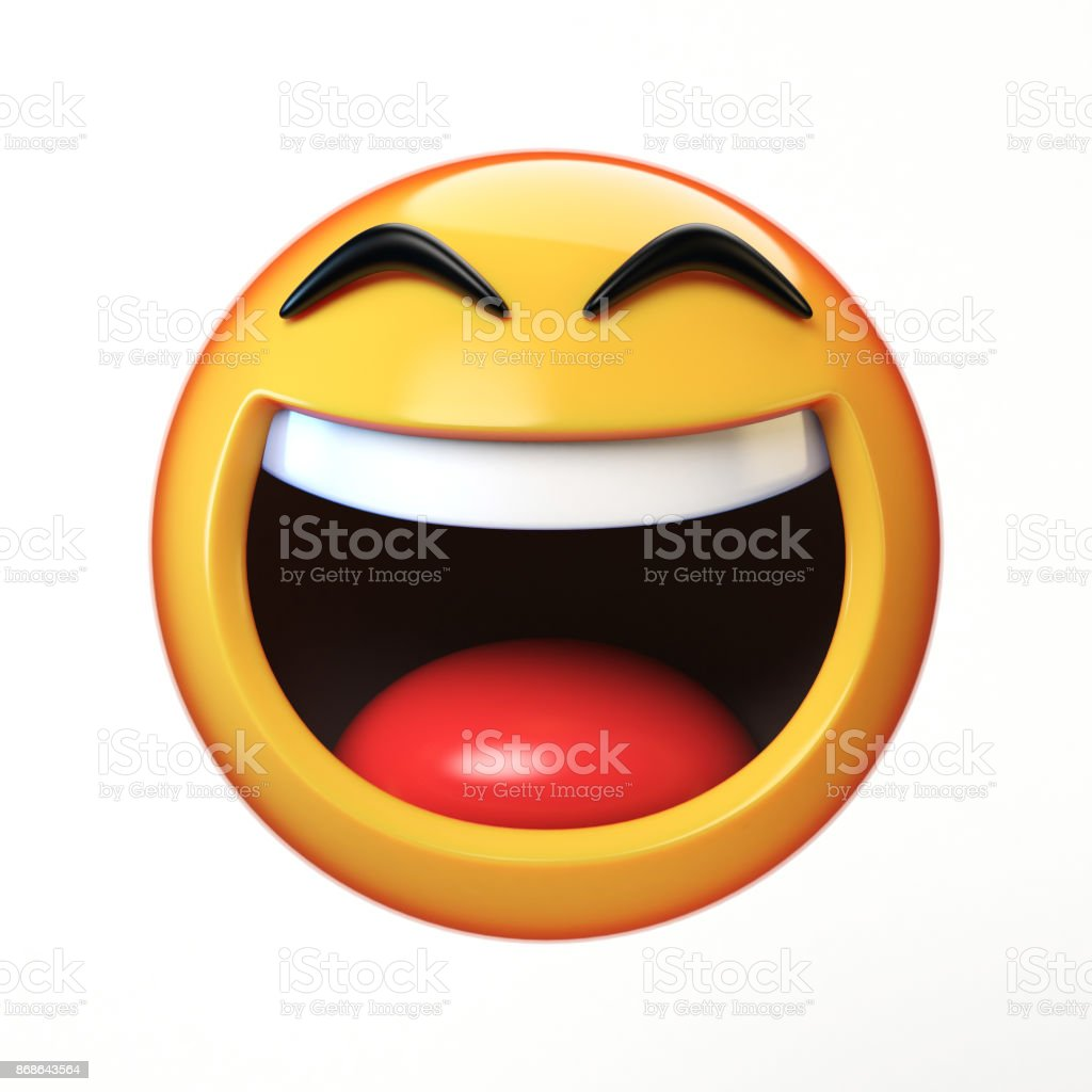 LoL Emoji Isolated On White Background Laughing Face Emoticon 3d Rendering Royalty Free Stock
