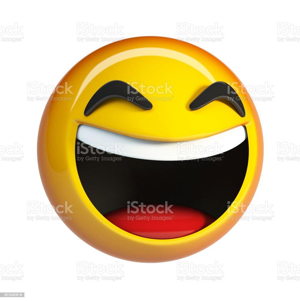 LoL Emoji. Laughing Face emoticon. stock photo