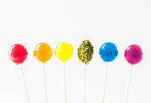 Lollipops in the colors of the rainbow, with a green marijuana bud on a lollipop stick in the middle.