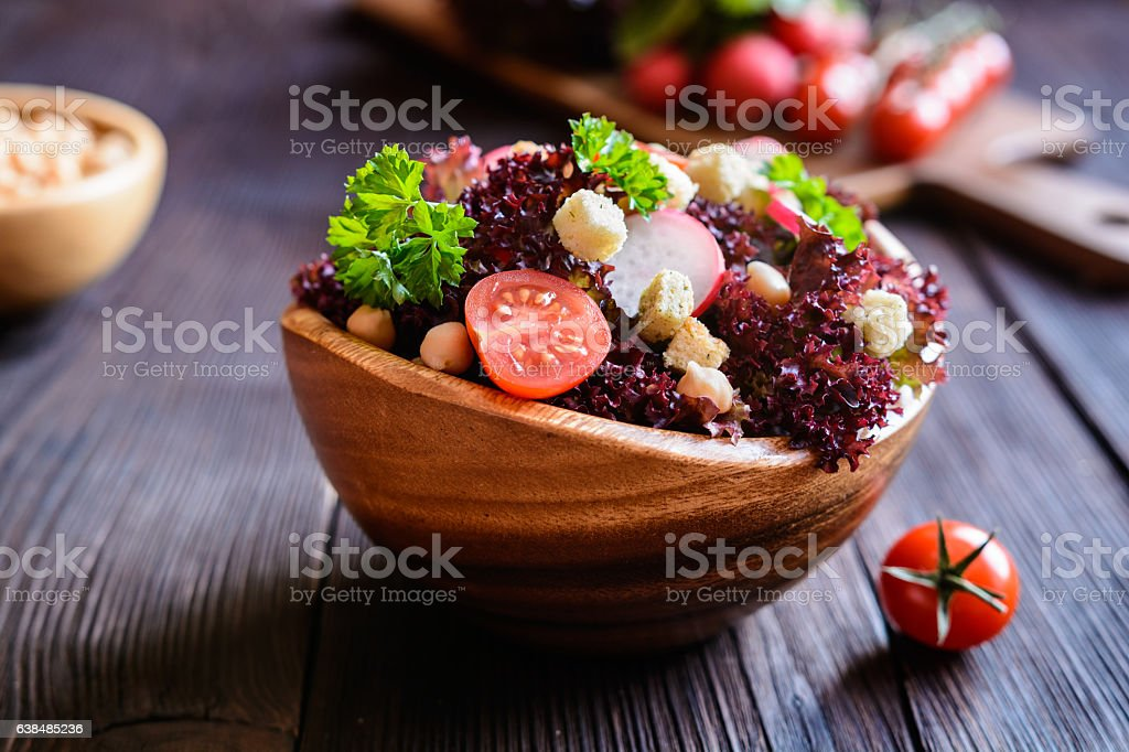 Lollo rosso salad with chickpeas, tomato, radish and croutons stock photo