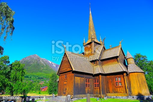 Lom Stave Church: Norwegian typical carving Stavkirke - Oppland, Norway, Scandinavia