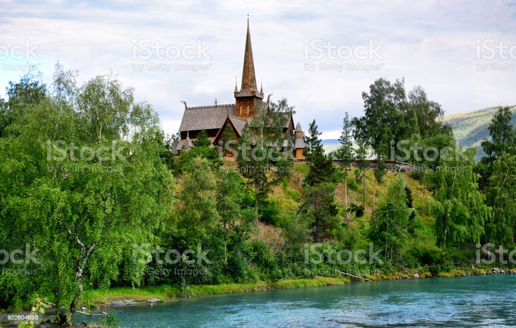 Lom Stavkirke, Norway stock photo