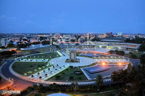 Lomé, Togo: view over Independence Square (Place de l'Independance), the de facto center of the country - Palais de Congrés on the top right and Independence monument in the center of the square