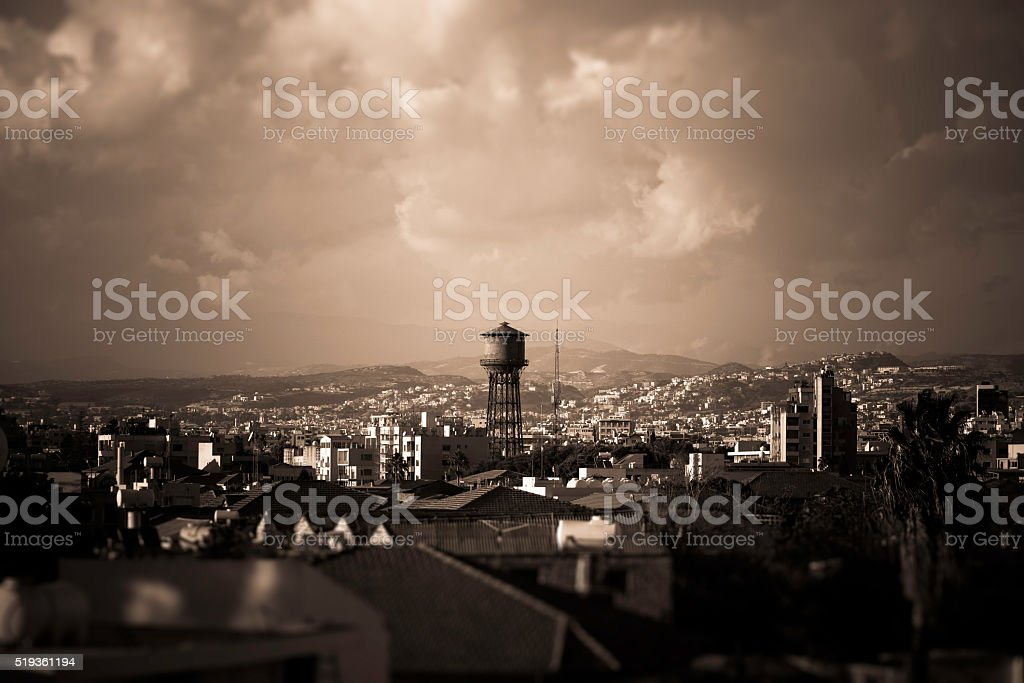 Lomassol water tower and panorama of old town. Cyprus stock photo
