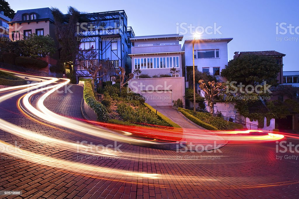 Lombard Street at night royalty-free stock photo