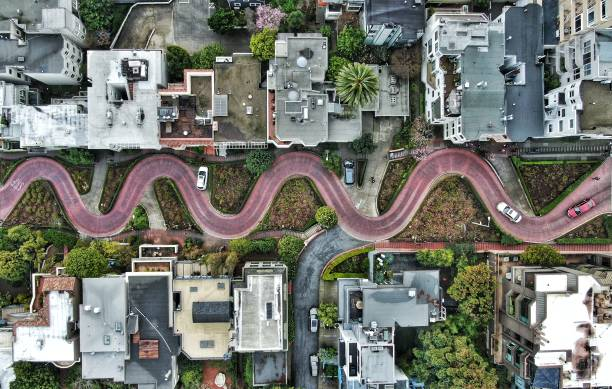 Lombard Street From Above A windy look at Lombard Street, San Francisco's windiest street steep stock pictures, royalty-free photos & images