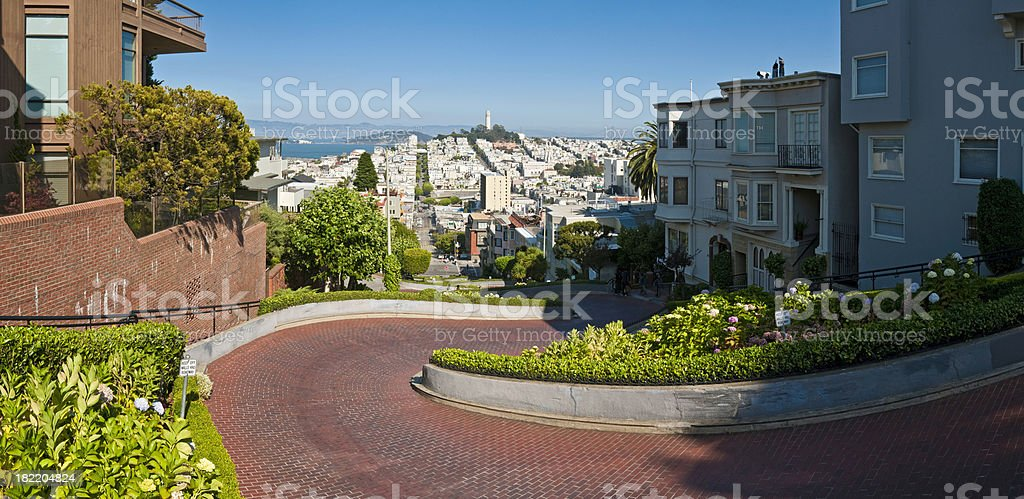 Lombard Street slalom San Francisco Coit Tower cityscape panorama California stock photo