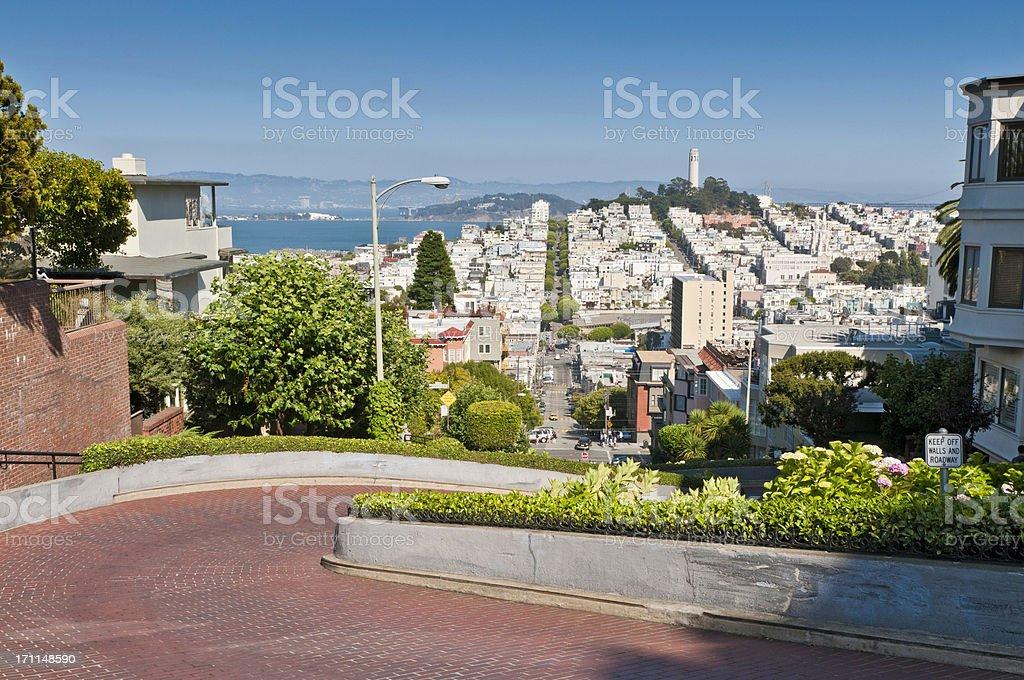Lombard Street Telegraph Hill Coit Tower San Francisco landmarks California stock photo