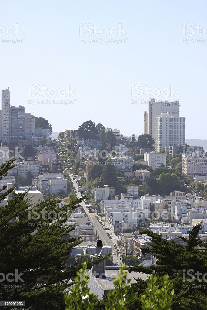 Lombard Street, view from Coit Tower royalty-free stock photo