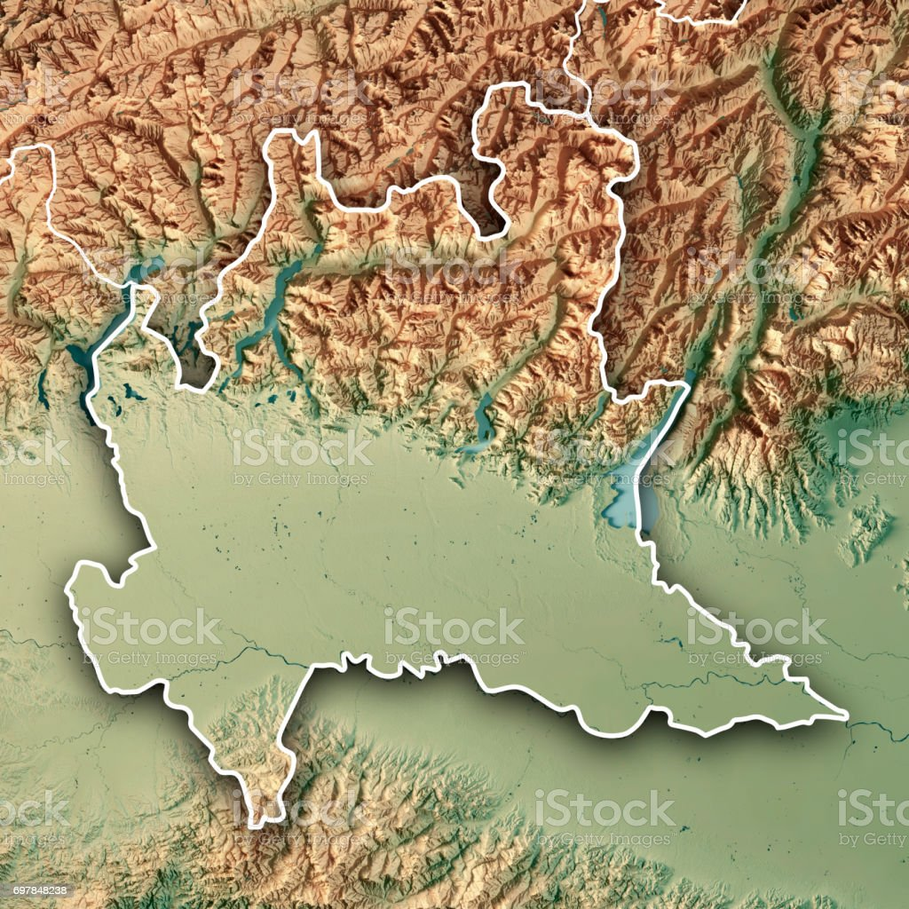 Topographic Map Italy.Lombardia State Italy 3d Render Topographic Map Border Stock Photo