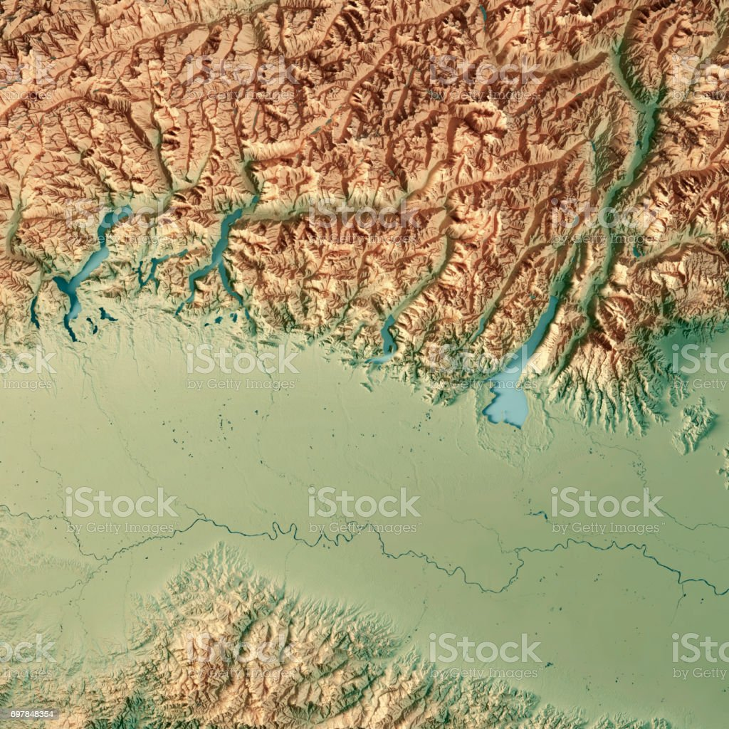 Topographic Map Italy.Lombardia State Italy 3d Render Topographic Map Stock Photo More