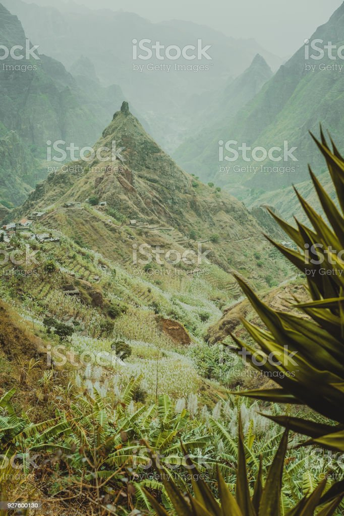 Lombo de pico in Xo-xo valley following trakking route 202 over Rabo Curto to Ribeira da torre. Santo Antao island, Cape Verde stock photo